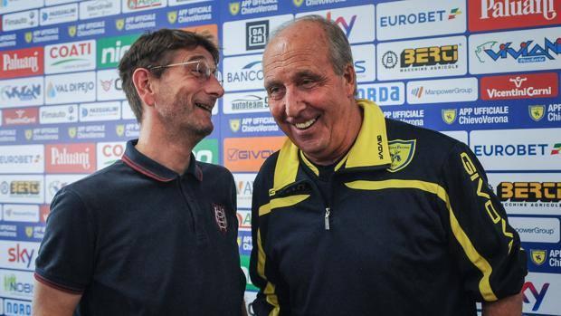 Il presidente del Chievo Lorenzo Campedelli e il mister Giampiero Ventura. Foto: LaPresse.