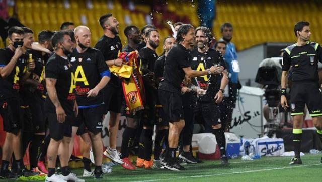 La festa del Benevento per la promozione. Getty Images