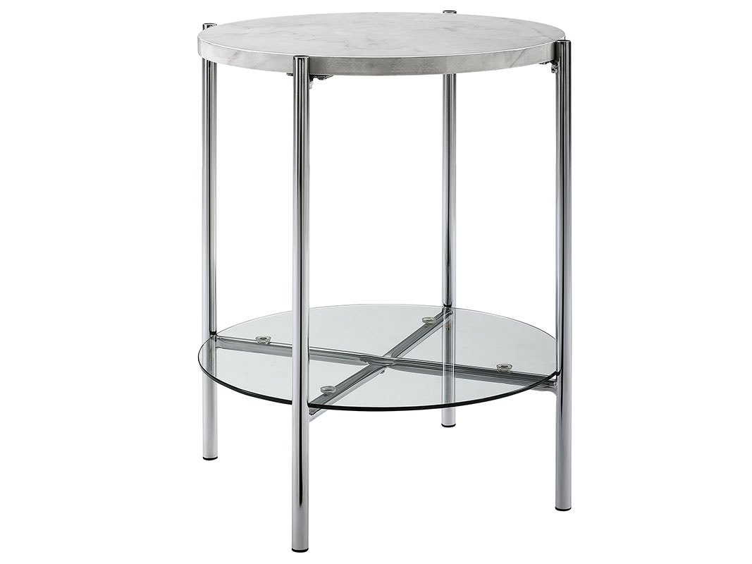 Ft Myers Bedroom 20 Mid Century Round Side End Table Nightstand White Marble Top Glass Shelf Chrome Legs Wedaf20srdstwmcr Walter E Smithe