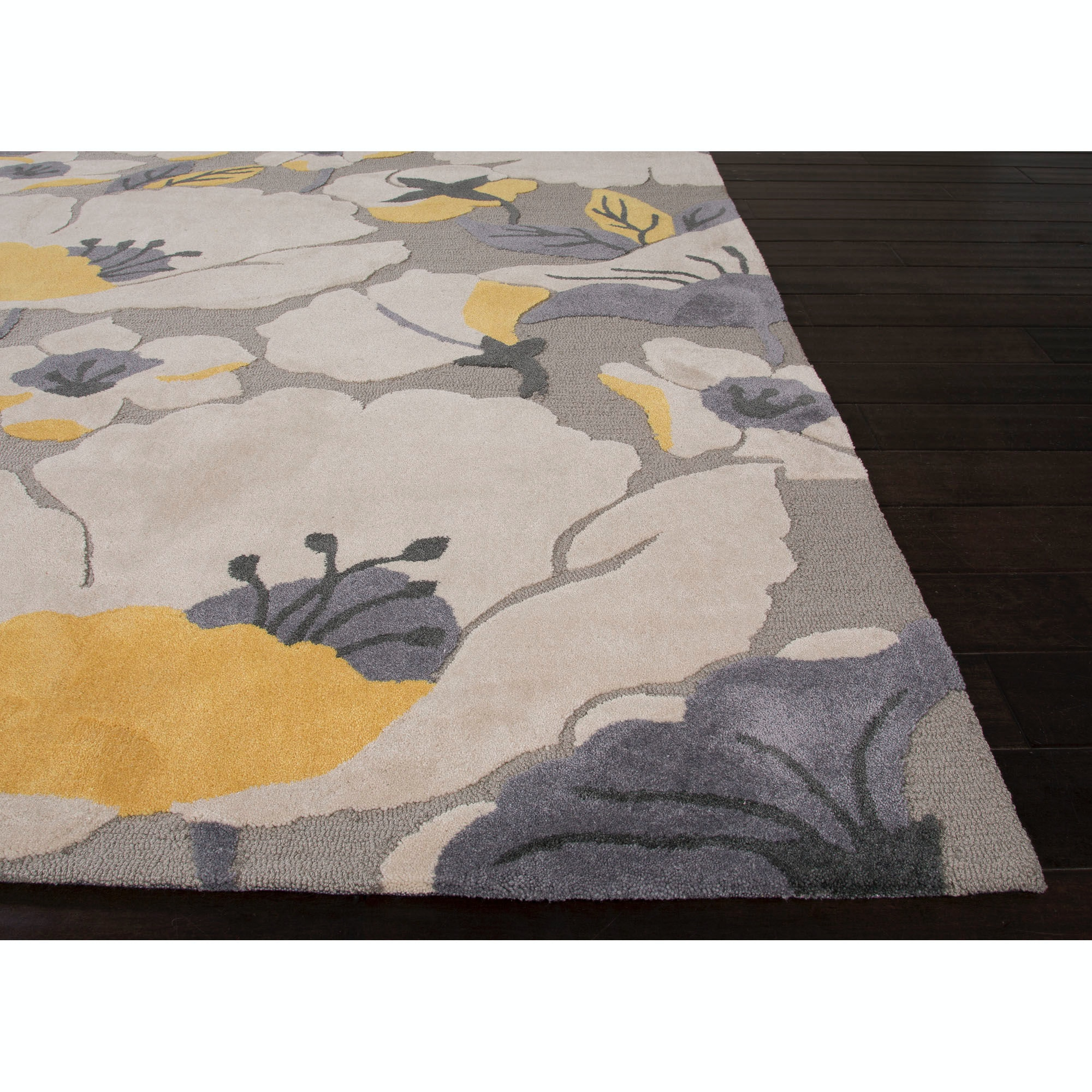 Jaipur Rugs Floor Coverings Jaipur Hand Tufted Floral Pattern Gray Yellows Gold Polyester 5x7 6