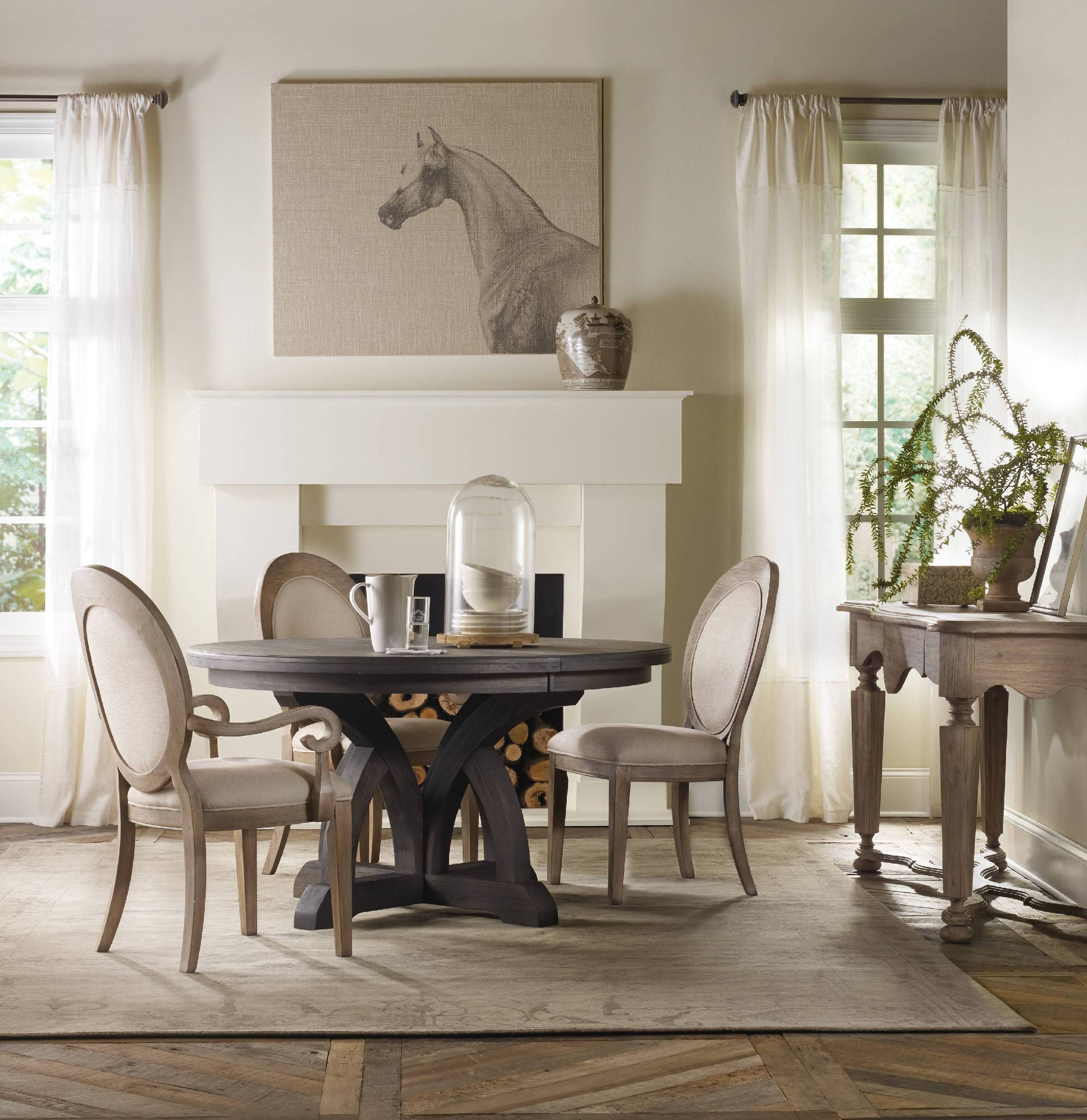 Hooker Furniture Dining Room Corsica Dark Round Dining Table W 1 18in Leaf 5280 75203