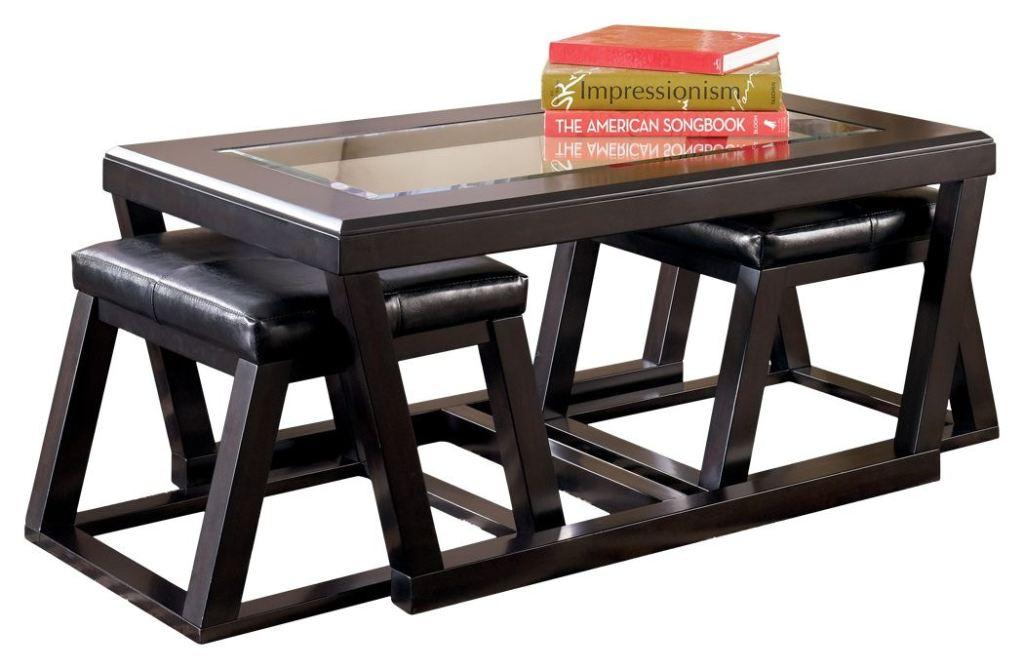 kelton coffee table with nesting stools