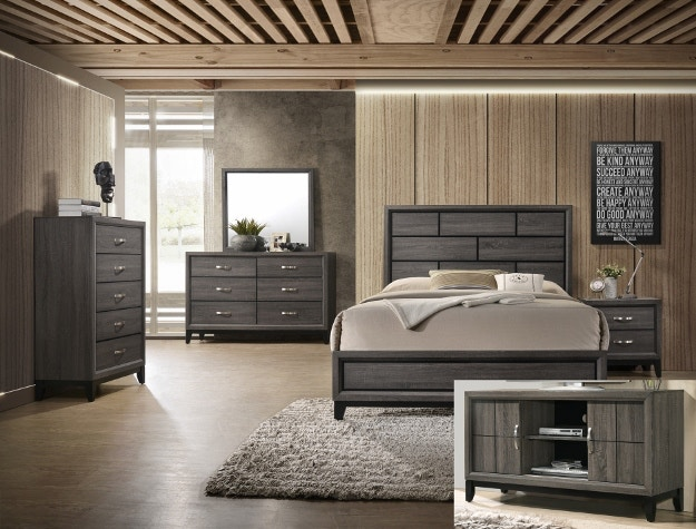 Crown Mark Bedroom Akerson Queen HeadFootboard Grey B4620