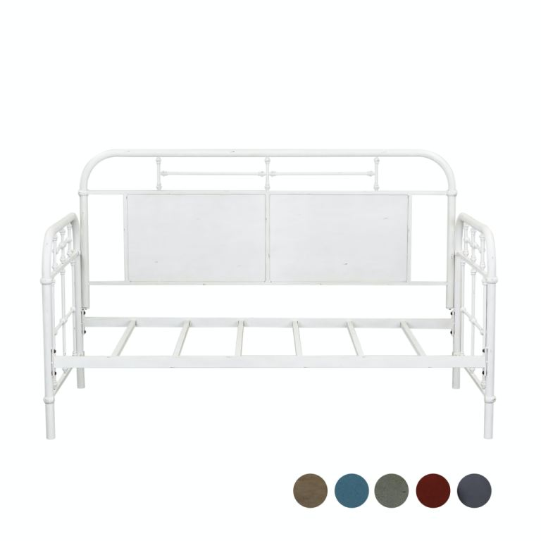 twin metal day bed antique white