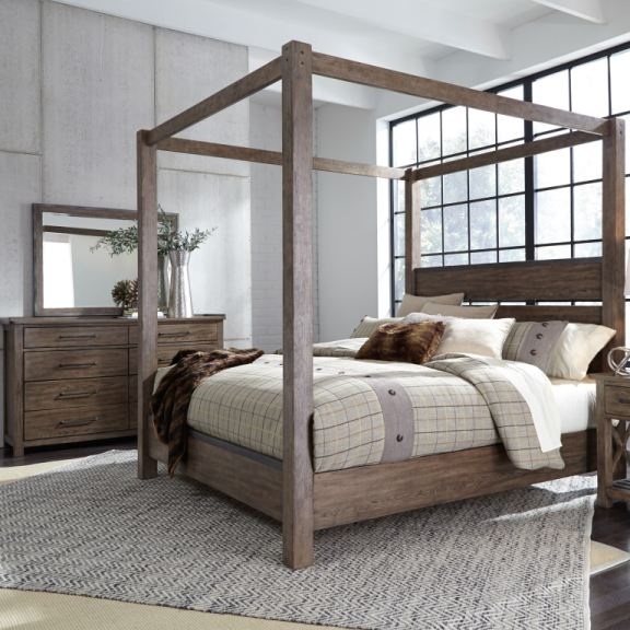 queen canopy bed dresser and mirror