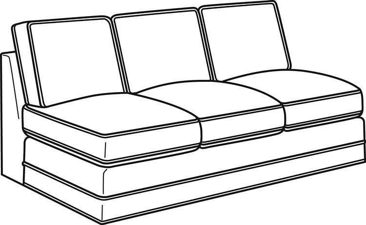 Lexington Living Room Bristol Armless Sofa 6300 33A