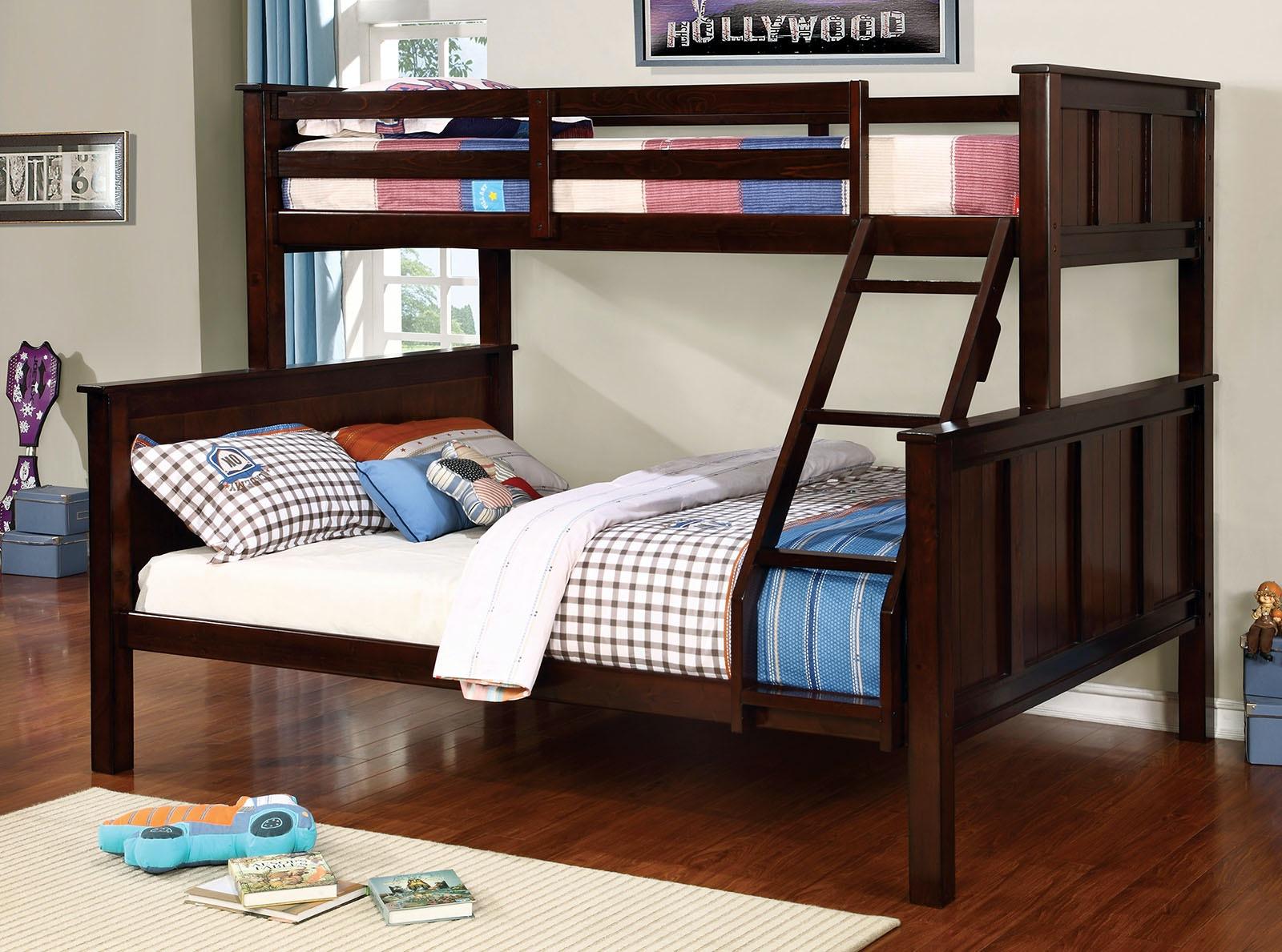 Furniture Of America Bedroom Twin Queen Bunk Bed Bottom Headboard Footboard 13 Pc Slats