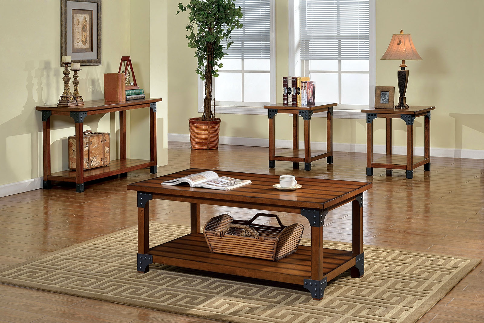 Furniture Of America Living Room Sofa Table Antique Oak Cm4102s The Furniture Mall Duluth