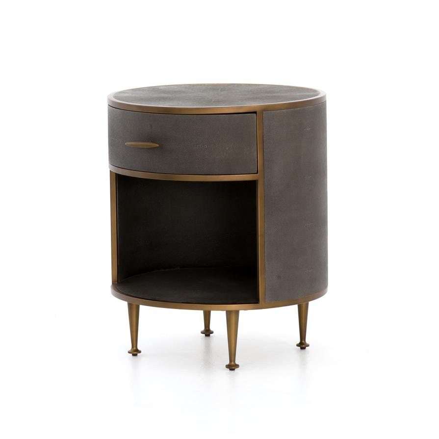 Four Hands Shagreen Round Nightstand Vben 026a Portland Or Key Home Furnishings