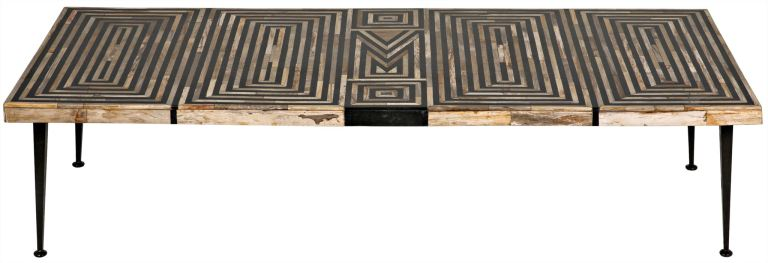 onyx inlaid coffee table with metal legs