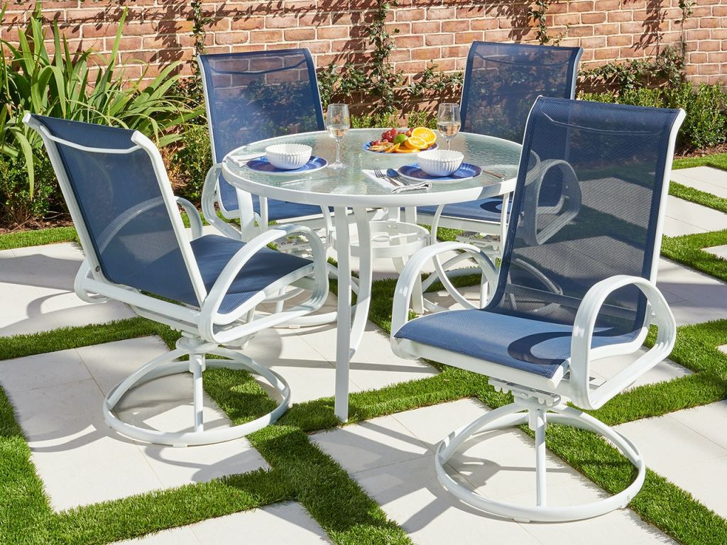 cape coral white aluminum and navy sling 5 pc dining set with swivel chairs and 42 in d glass top table