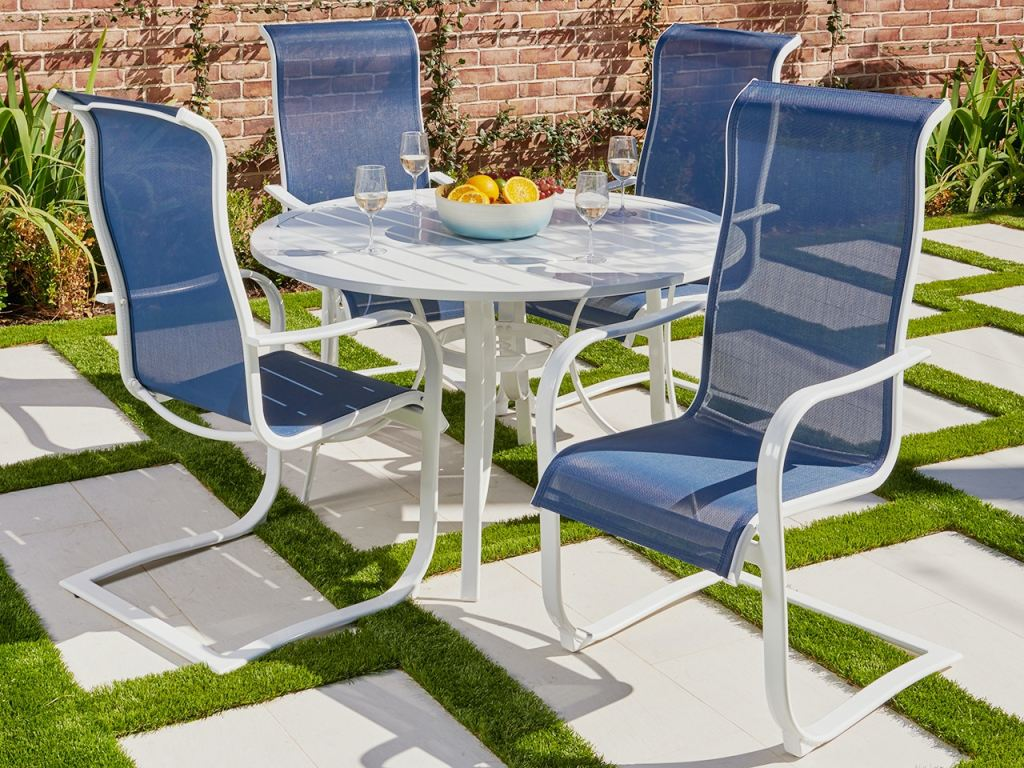 cape coral white aluminum and navy sling 5 pc dining set with 48 in d slat top table