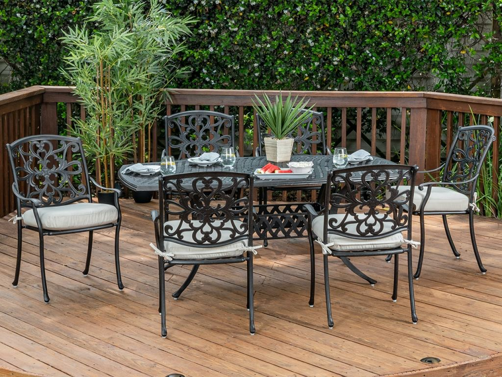 carlisle aged bronze cast aluminum 7 pc dining set with 72 x 42 in dining table