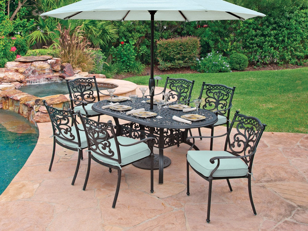 milan aged bronze cast aluminum 7 pc dining set with 72 x 42 in dining table