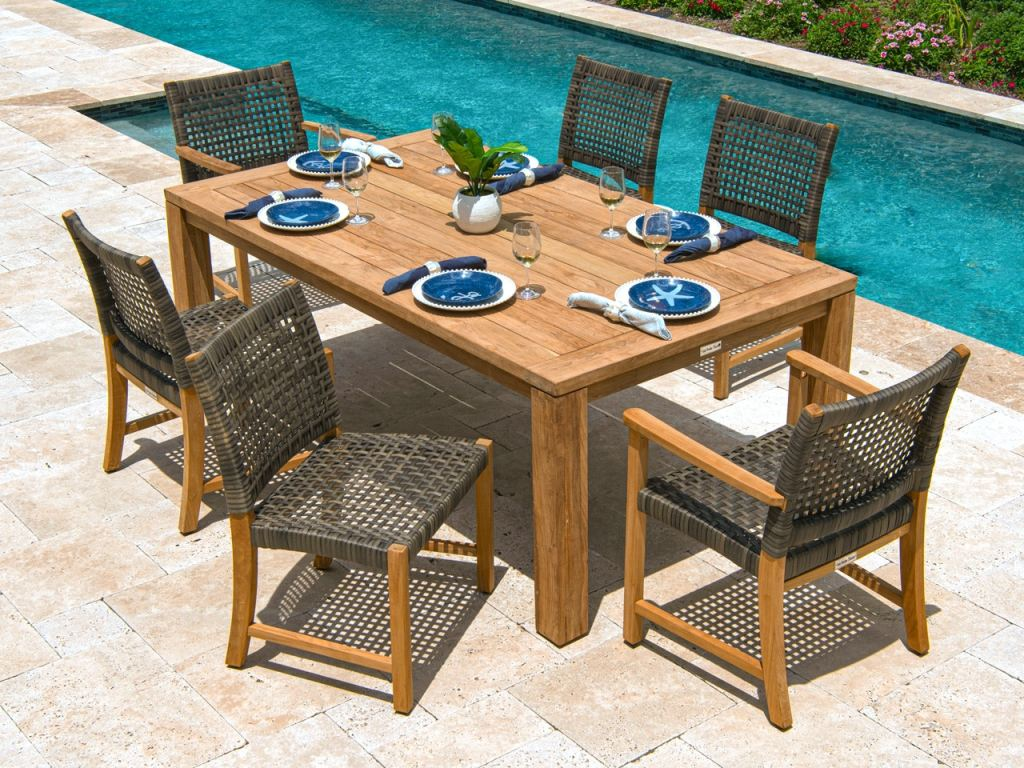 hampton driftwood outdoor wicker and solid teak 7 pc dining set with 79 x 43 in dining table