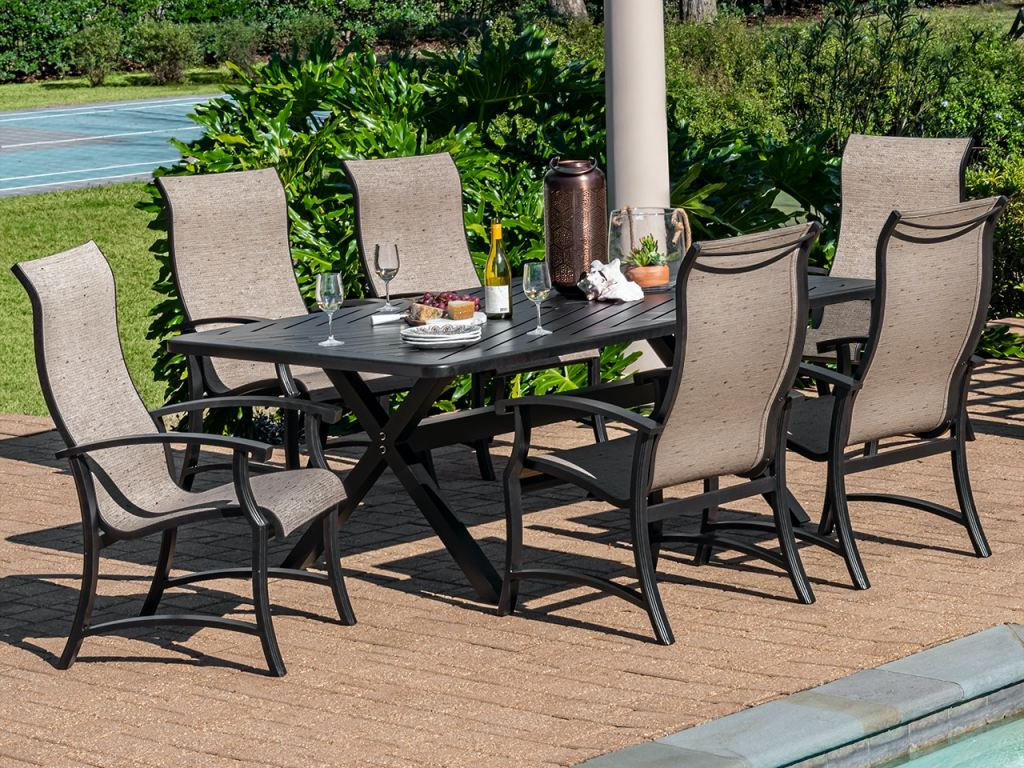 lodge aged bronze aluminum 7 pc keetley birch sling dining set with 84 x 42 in dining table