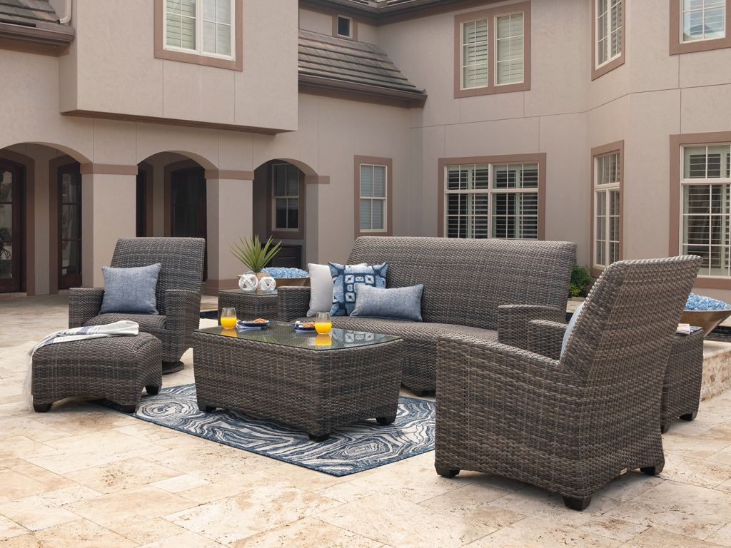 sydney husk outdoor wicker and concealed cushion 4 pc sofa group with 44 x 24 in coffee table and swivel rocker club chairs