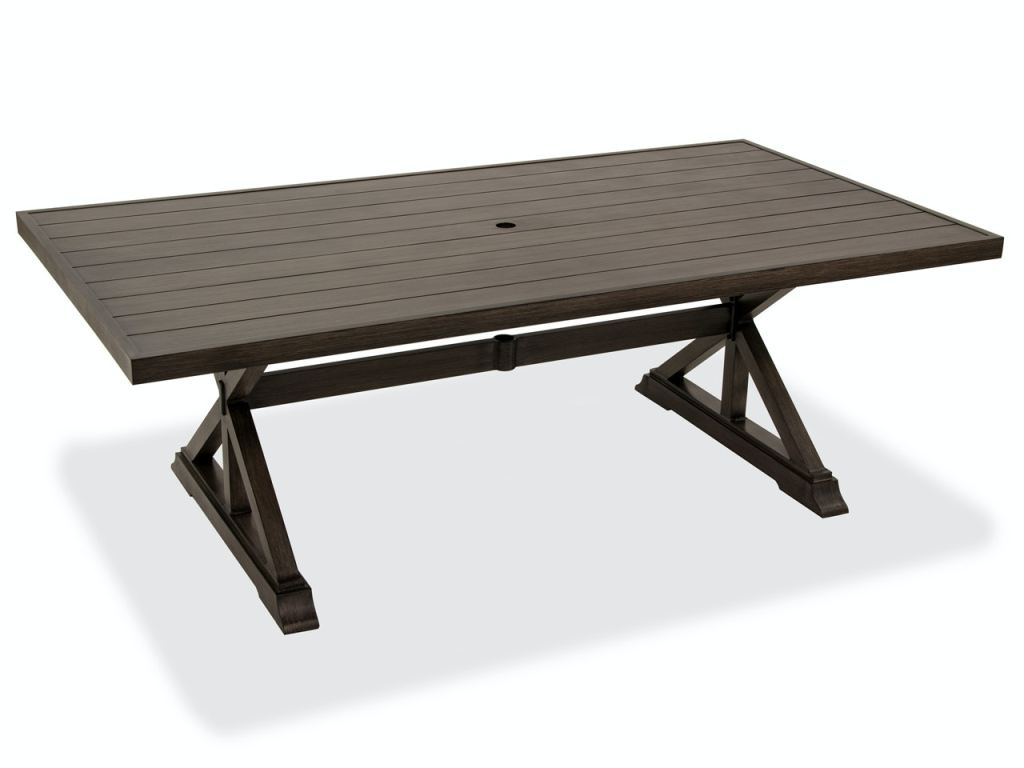 monaco weathered teak aluminum 84 x 44 in dining table