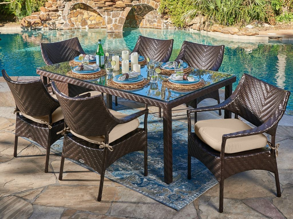 martinique java brown outdoor herringbone wicker 7 pc dining set with arm chairs and a 72 x 42 in glass top dining table