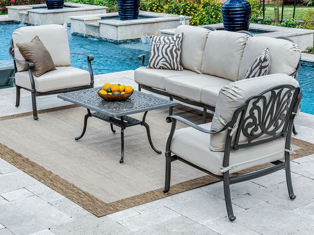 cadiz aged bronze cast aluminum and beige cushion 4 pc sofa group with 42 x 26 in coffee table