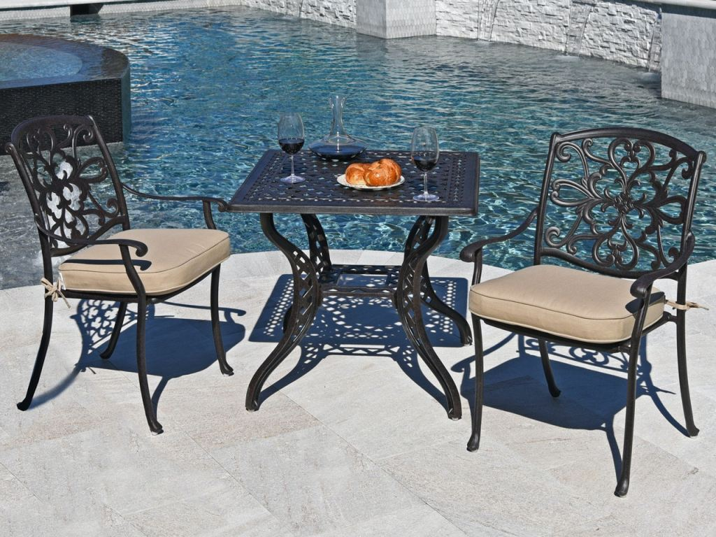 carlisle aged bronze cast aluminum 3 pc bistro dining set with 32 in bistro table