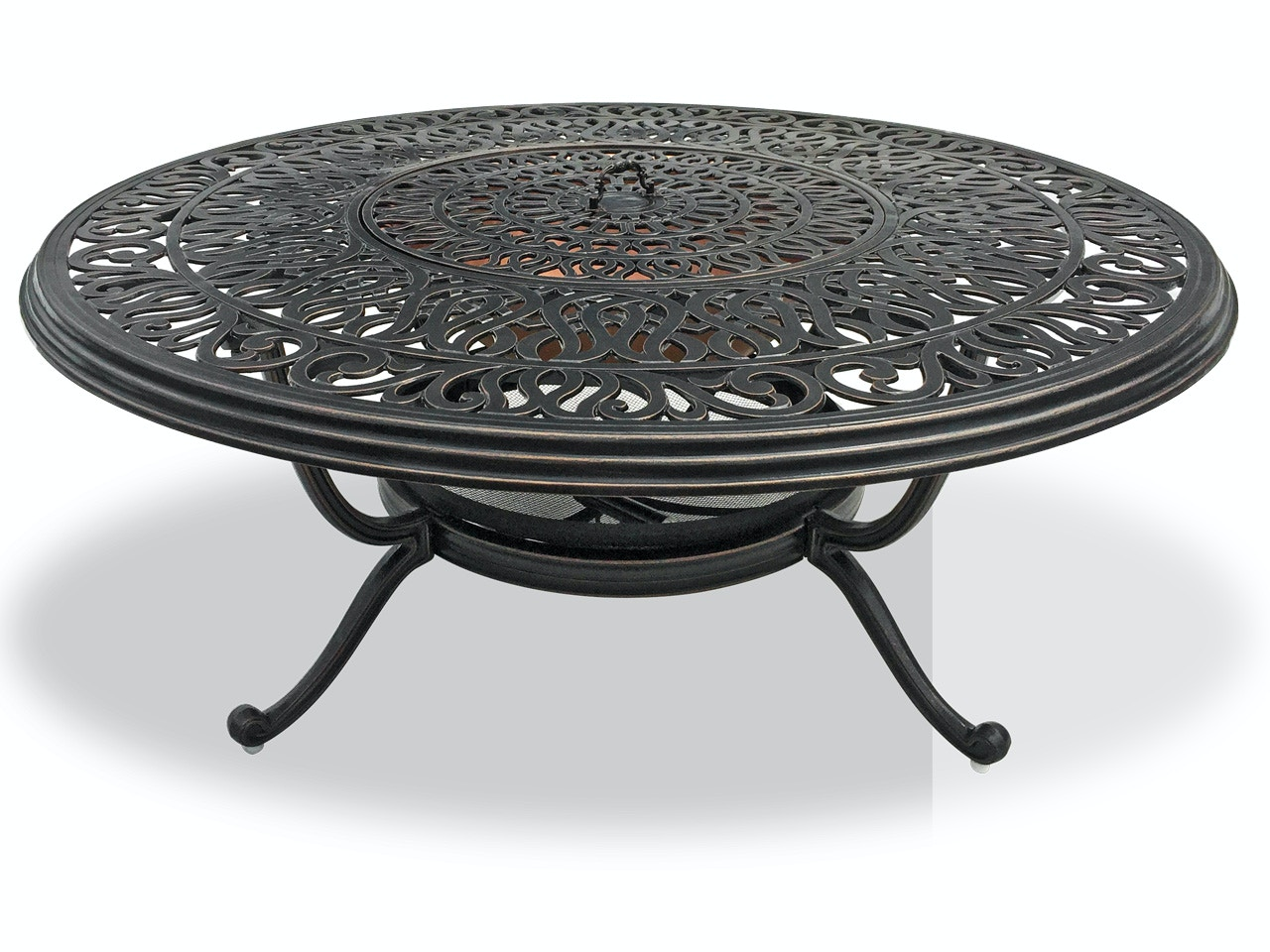 Outdoor Patio Cadiz Aged Bronze Cast Aluminum 48 In Fire Pit Coffee Table 3522400 Chair King