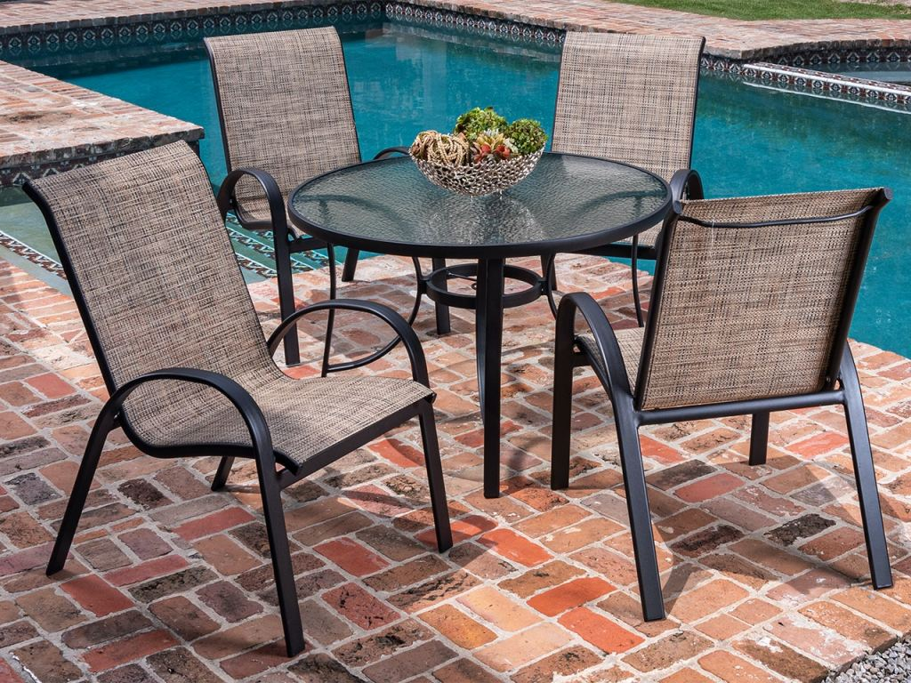 cape coral java aluminum and desert wicker sling 5 pc dining set with 42 in d glass top table