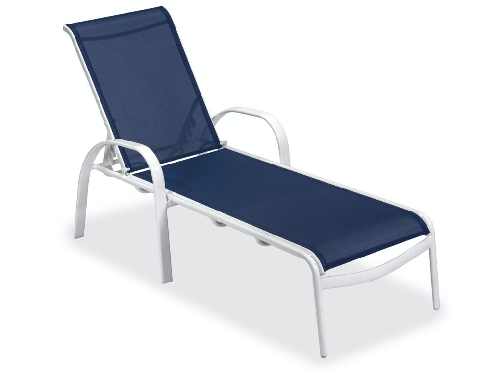 cape cod white aluminum and navy sling chaise lounge