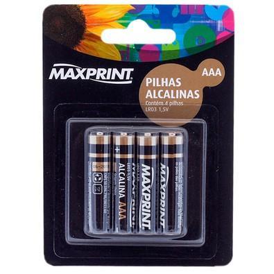 Pilha Alcalina Maxprint AAA Palito 1,5V Blister com 4 Unidades 756362