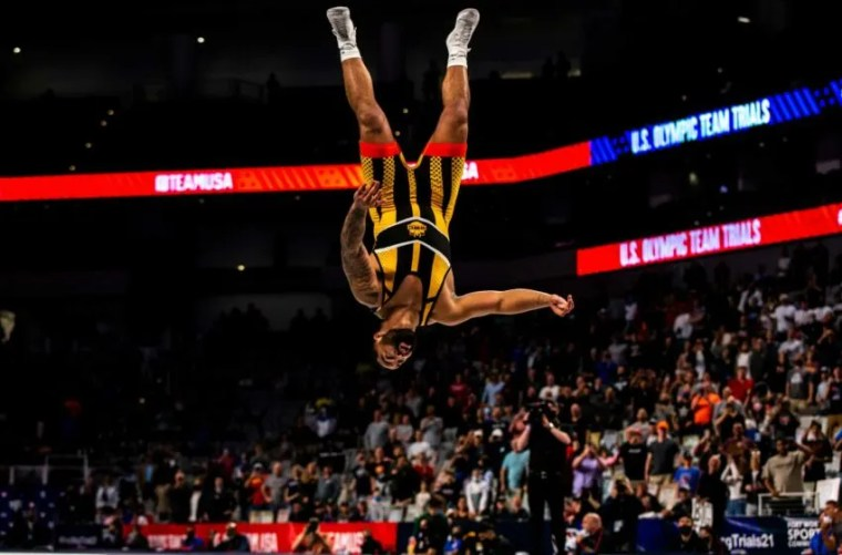 Gable Steveson does a back flip after winning his second match at 125 kg during the fourth session of the USA Wrestling Olympic Team Trials, Saturday, April 3, 2021, at Dickies Arena in Fort Worth, Texas. 210403 Olympic Trials Finals 015 Jpg