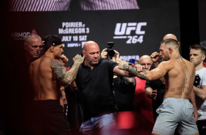 Dustin Poirier vs. Conor McGregor (Photo by Amy Kaplan/FanSided)