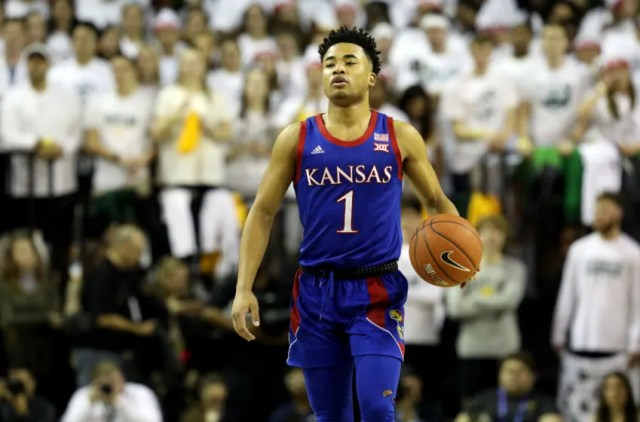 WACO, TEXAS - FEBRUARY 22: Devon Dotson #1 of the Kansas Jayhawks in the first half at Ferrell Center on February 22, 2020 in Waco, Texas. (Photo by Ronald Martinez/Getty Images)