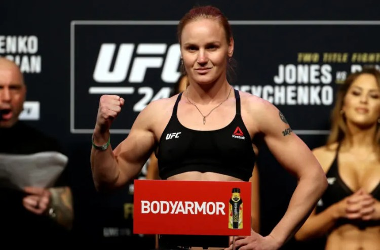 HOUSTON, TEXAS - FEBRUARY 07: Valentina Shevchenko poses on the scale during the UFC 247 ceremonial weigh-in at Toyota Center on February 07, 2020 in Houston, Texas. (Photo by Ronald Martinez/Getty Images)
