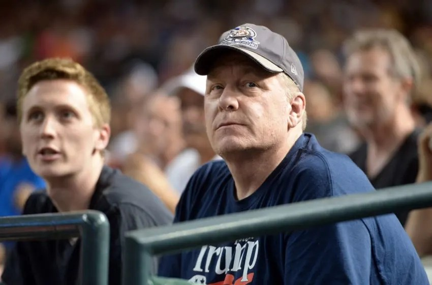 Aug 3, 2018; Phoenix, AZ, USA; MLB Hall of Fame pitcher Curt Schilling looks on during the first inning of the game between the Arizona Diamondbacks and the San Francisco Giants at Chase Field. Mandatory Credit: Joe Camporeale-USA TODAY Sports