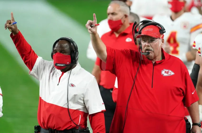 Nov 22, 2020; Paradise, Nevada, USA; Kansas City Chiefs offensive coordinator Eric Bieniemy (left) and coach Andy Reid react during the game against the Las Vegas Raiders at Allegiant Stadium. Mandatory Credit: Kirby Lee-USA TODAY Sports