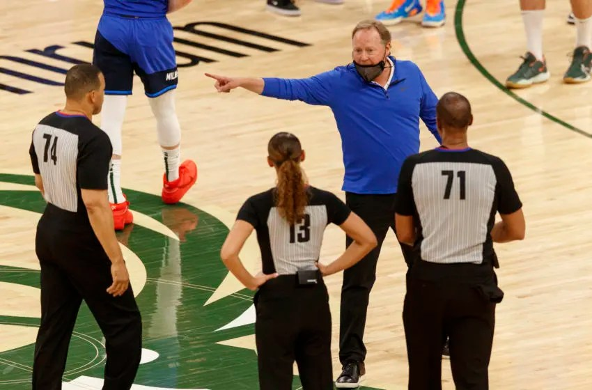 Apr 19, 2021; Milwaukee, Wisconsin, USA; Milwaukee Bucks head coach Mike Budenholzer argues with officials following the game against the Phoenix Suns at Fiserv Forum. Mandatory Credit: Jeff Hanisch-USA TODAY Sports