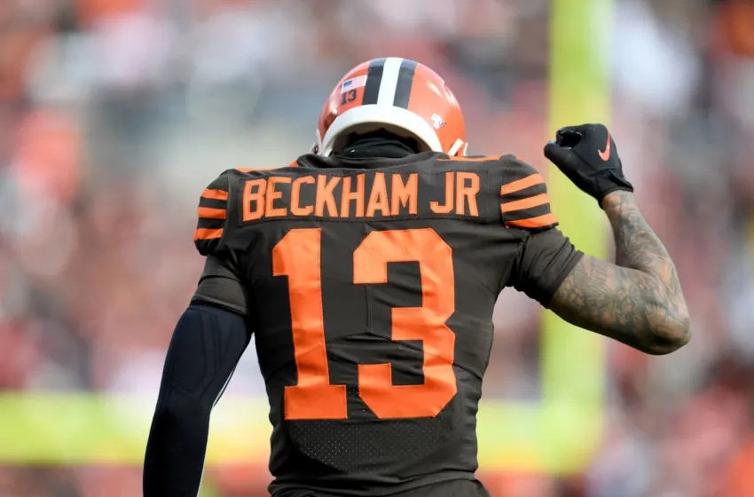 CLEVELAND, OHIO - DECEMBER 08: Wide receiver Odell Beckham #13 of the Cleveland Browns reacts after a play during the second half against the Cincinnati Bengals at FirstEnergy Stadium on December 08, 2019 in Cleveland, Ohio. The Browns defeated the Bengals 27-19. (Photo by Jason Miller/Getty Images)
