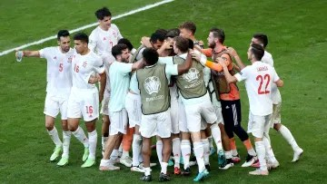 Spain celebrate their stunning victory over Croatia