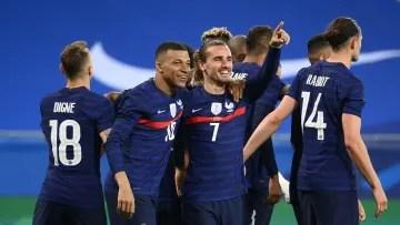 Griezmann celebrates a goal against Wales