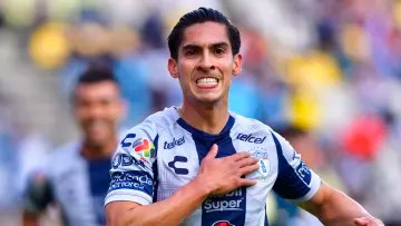 Player Erick Aguirre celebrates a goal with Pachuca.