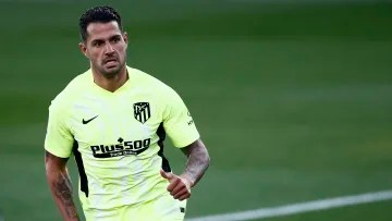 Vitolo in one of his last matches with the Atlético de Madrid shirt