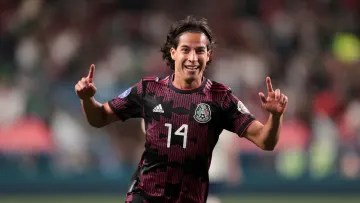 Soccer player Diego Lainez celebrates a goal with Tricolor.
