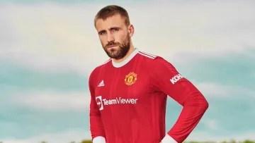 Luke Shaw models Manchester United's brand new home kit