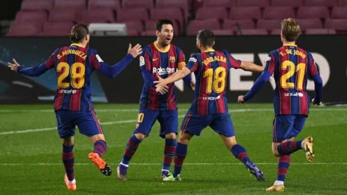 Jordi Alba, Oscar Mingueza, Lionel Messi, Frenkie de Jong
