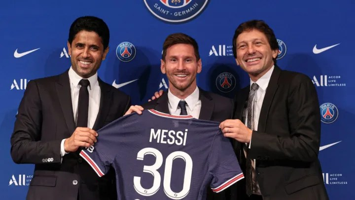 Lionel Messi, Nasser Al Khelaifi, Leonardo