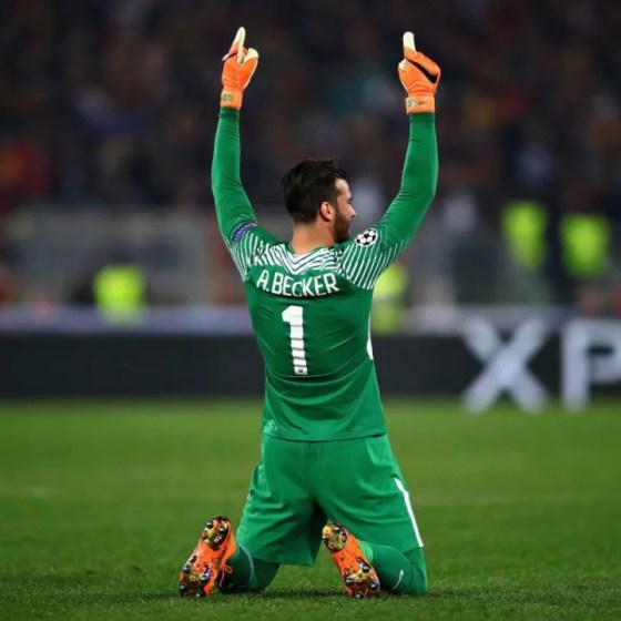 Alisson celebrates Roma's spectacular comeback against Barcelona