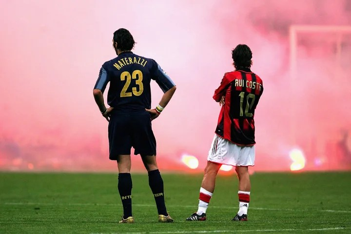 Marco Materazzi and Rui Costa in one of football's most iconic images