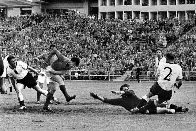 Just Fontaine fires home against West Germany