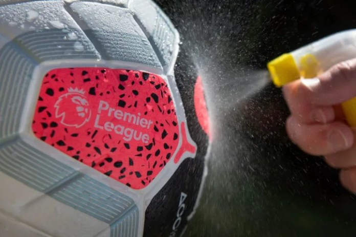 Premier League Match Ball Sprayed With Disinfectant