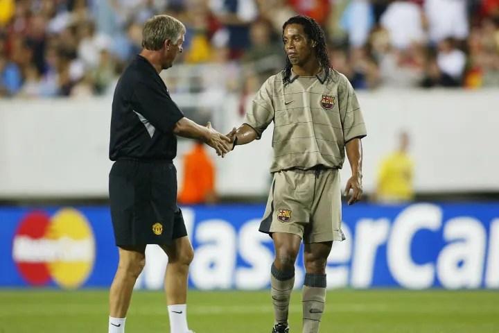 Sir Alex Ferguson of Man Utd with Ronaldinho
